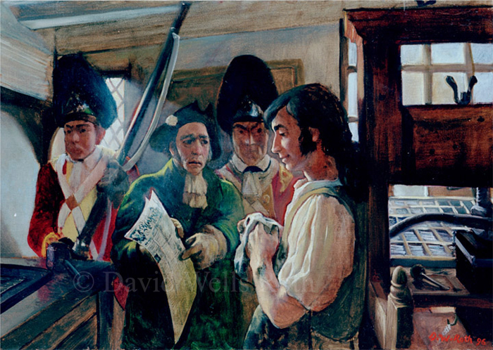 The Summons, Challanging Freedom of Speech, oil on canvas, 1996