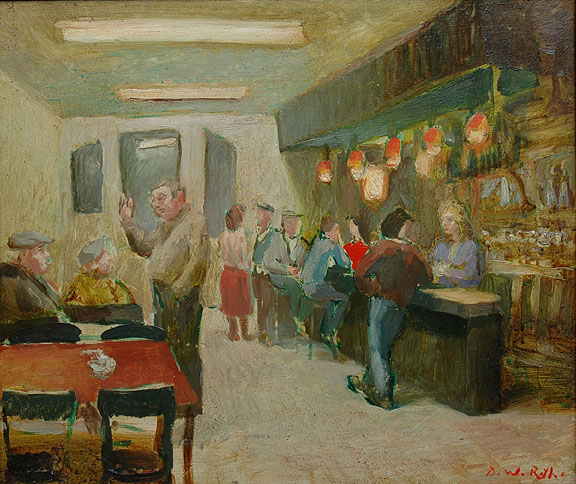 Bar in Erogues, oil on board 1984