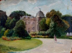 Marie-Christian in the Jardin Clemanceau, oil on board, Paris, August 2, 1982