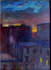 Roof tops at rue Mariotte, Paris, oil on board, 1982