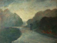 Fog in the Jardin Clemanceau, oil on board, 1982