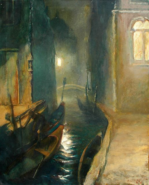 Night canal, oil on canvas, 1985