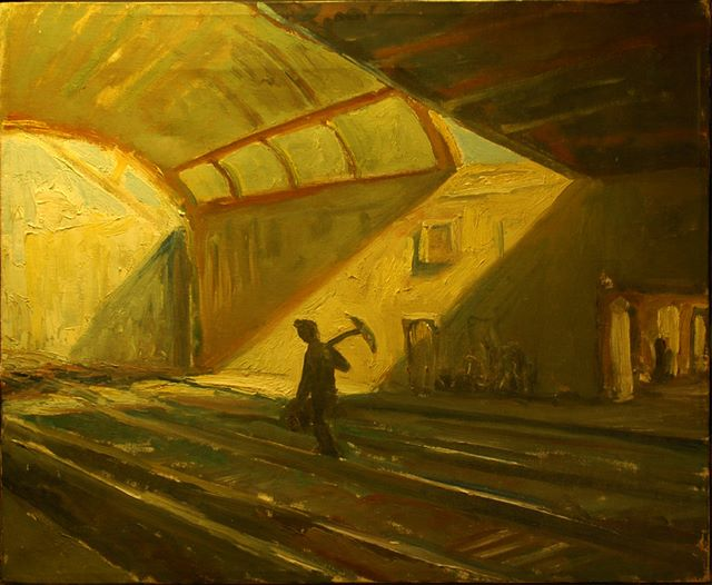 Gare d'Avignon, oil on board, 1984