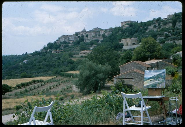 Painting near Gourdes, France, 1982
