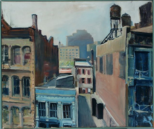 Green Street roofs, oil on canvas, 1984