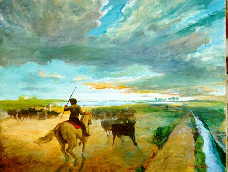 Bull guardian of the Camargue, oil on canvas, 1986