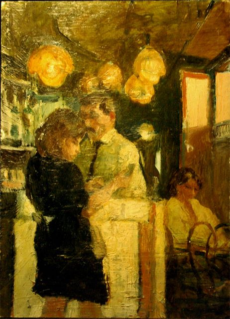 Cafe, oil on board, 1987