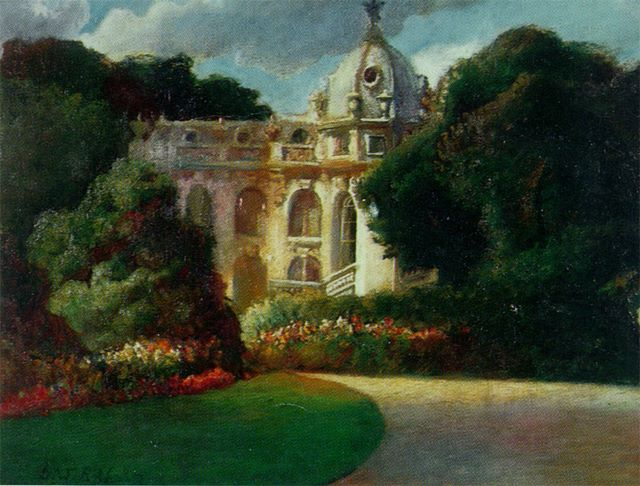 Jardin Clemanceau, Paris, oil on canvas, 1982
