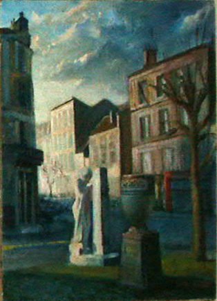 Statue in Pre St. Gervais, oil on canvas, 1982