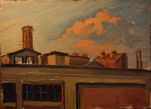 Rooftops of Le Pre St. Gervais, oil on board, 1984
