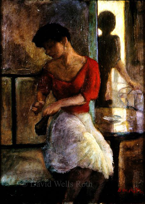 Woman in a cafe, oil on board, 1987