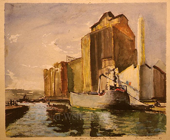 Riverboat in Pantin, watercolor in board, 1989