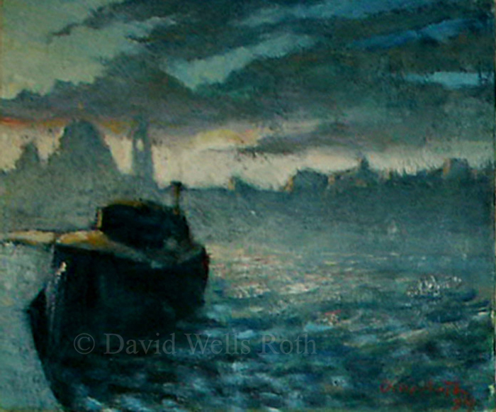 Venice sunset, oil on canvas, 1984