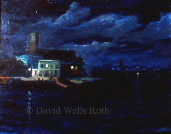 Venice nocturne, oil on board, 1984