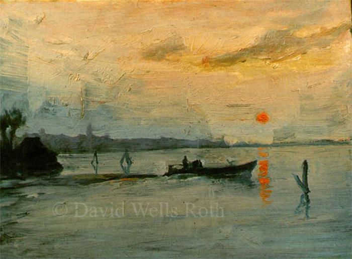 View near Venice, oil on board, 1984