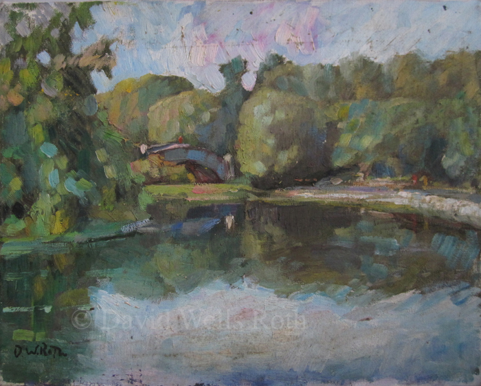 Bridge in Central Park, oil on canvas,