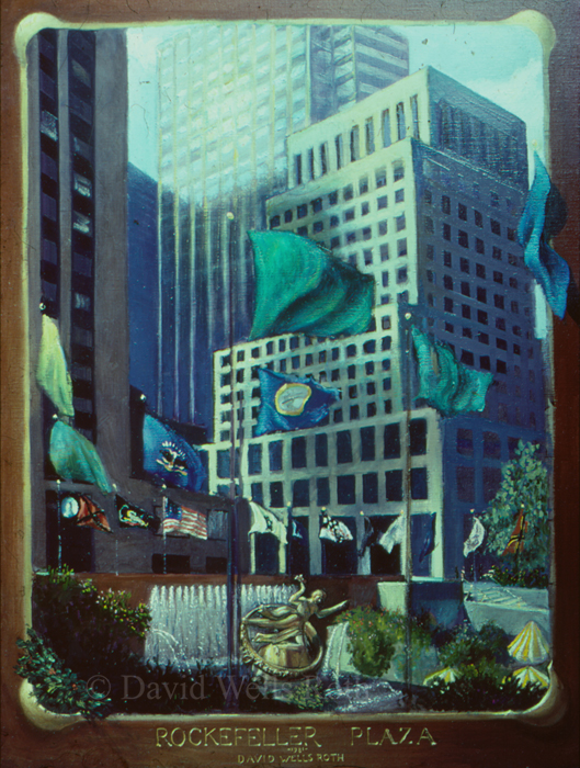 Rockerfeller Plaza, oil on canvas,