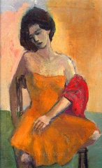 Girl with Yellow Dress, oil on board,