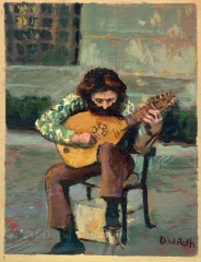 Street Musician in front of the Met, oil on board,