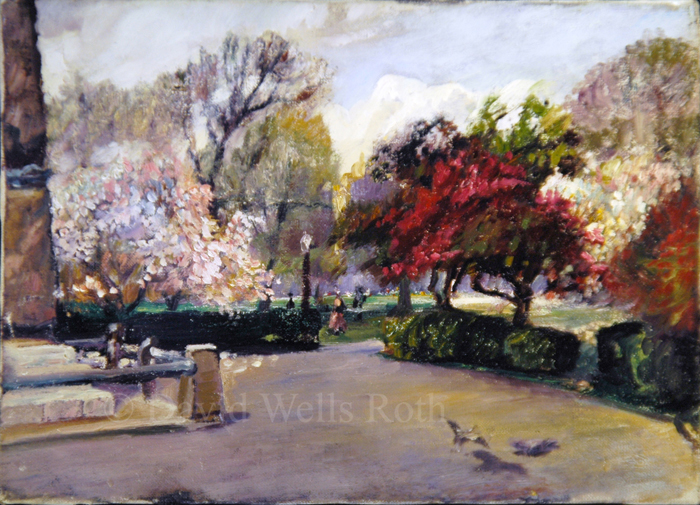 Central Park in Spring, oil on canvas,