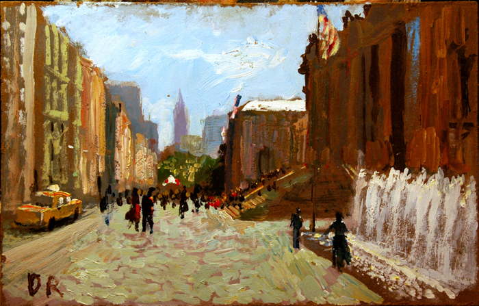 In Front of the Museum, oil on board,
