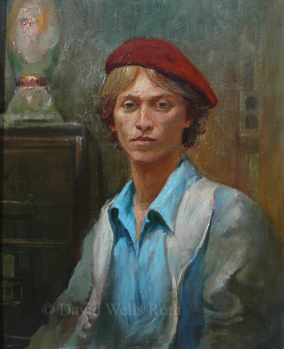 Self Portrait with Red Hat, oil on canvas,