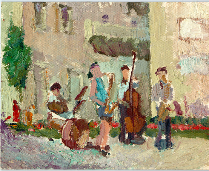 Street Musicians neart the Plaza, oil on board, 1980