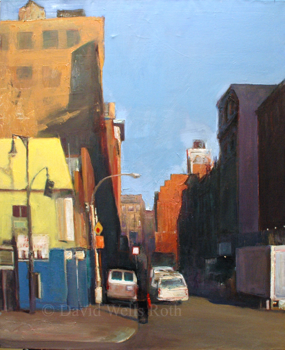 Yellow and Blue Building, oil on linen, 37 x 30 in. - SOLD