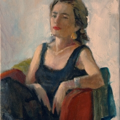 Seated Girl in Red Chair